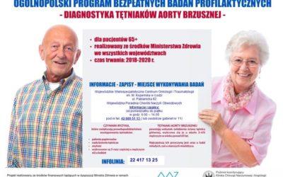 Bezpłatne badania profilaktyczne – Diagnostyka Tętniaków Aorty Brzusznej